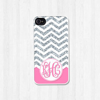 Personalized Phone Case, iPhone 4 4S, iPhone 5 5S 5C, Samsung Galaxy S3 S4, iPhone Case, Silver Glitter Chevron Pink Monogram (368)
