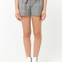 Glen Plaid Paperbag-Waist Shorts