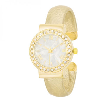 Fashion Shell Pearl Cuff Watch With Crystals - Gold