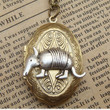 Steampunk Armadillo Locket Necklace Vintage Style by sallydesign