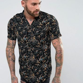 ASOS Regular Fit Crinkle Shirt In Vintage Floral Print With Raw Hem at asos.com