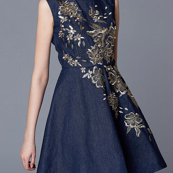 Navy Sleeveless Embroidered Denim A-line Mini Skater Dress