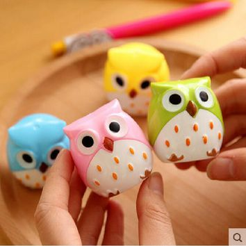 Cute Kawaii Lovely Plastic Owl Automatic Pencil Sharpener Creative Stationery Gifts For Kids School Supplies Free Shipping 1711