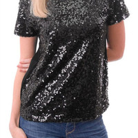 Glimpse of Glimmer Sequin Short Sleeve Shirt - Black