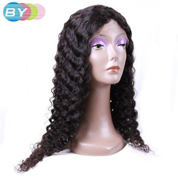 LMF78W BY Virgin Human Hair Deep Wave Brazilian Lace Front Wigs Natural Color 10-24inch Short Human Hair Wigs Free Shipping