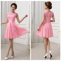 Pink Lace Sleeveless Princess Pleated Mini Dress
