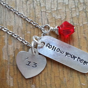 Follow Your Heart Necklace, Seester Necklace, Inspirational Quote Graduation Travel, Inspirational Poetry Necklace