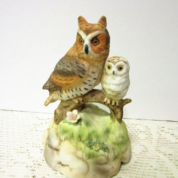 Owl Family Father's Day Gift Mother baby  Music Box Company Porcelain Ceramic Vintage