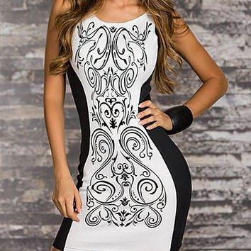 White and Blue Color Block Printed Bodycon Dress