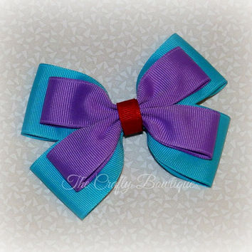Purple & Turquoise Bow ~ Ariel Hair Bow ~ Purple Layered Bow ~ Large Ariel Bow ~ Ariel Boutique Bow ~ Turquoise Hair Bow ~ Purple Hair Bow