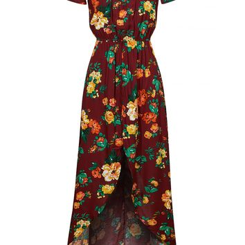 LE3NO Womens Flowy Floral Off Shoulder Short Sleeve Hi Low Maxi Romper Dress