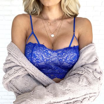 Hold Me Lace Bustier Bralette in Royal Blue