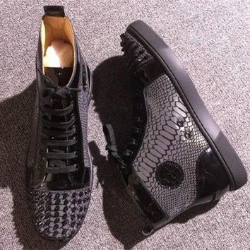 DCCK Cl Christian Louboutin Lou Spikes Style #2207 Sneakers Fashion Shoes