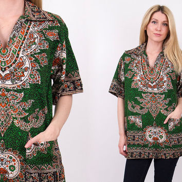 70's dashiki pocket blouse tribal green indian Vtg kaftan tunic top shirt boho hippie
