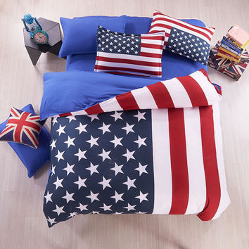American Flag Bedding USA flag bedding British / UK Flag Bedding English Teen bedding set Fitted Sheet 3-4pcs, King/Queen/Twin