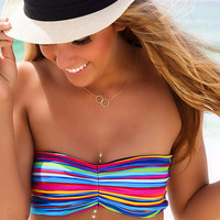 Sun Kissed Life Saver Striped Bandeau Bikini Top