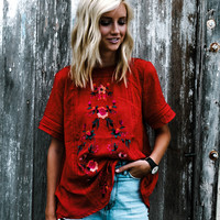 Vivian Embroidered Top (Red)