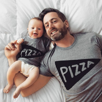 Father Child Pizza Party Shirt Set