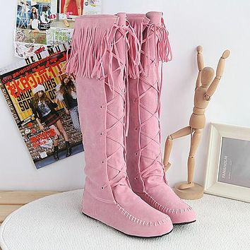 Tassel Suede Flat Tall Boots for Women 4549