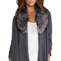 Alice + Olivia Izzy Cascade With Fur Cardigan in Grey