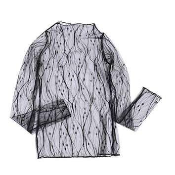 Women Summer Novelty Lace Blouse Shirt Female Fashion Body Top Long Sleeve Tunic Clothing Vintage Black Mesh Blouses And Shirts