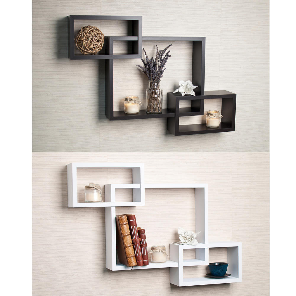 Decorative Wall Shelves Espresso : Laminate intersecting espresso wall shelf from overstock