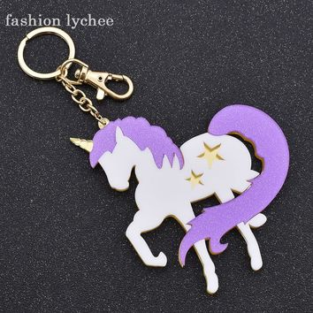 fashion lychee Big Acrylic Unicorn Pendant Key Chain Purple Horse Star Cars Bags Keychain Key Holder Jewelry Accessories