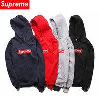 """Supreme"" Fashion Casual Male Female Letter Embroidery Round Neck Plus Flannel Hooded Drawstring Long Sleeve Loose Couple Cotton Sweater"