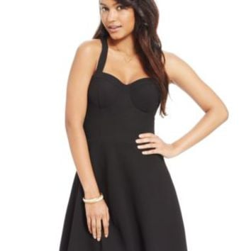 Material Girl Juniors' Textured Scallop-Hem Fit-and-Flare Dress | macys.com
