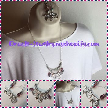 Egyptian eye of Horus necklace and earrings set