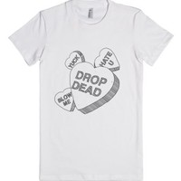Conversation Hearts (Drop Dead)-Female White T-Shirt