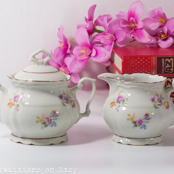 Vintage Cream and Sugar: Polish Porcelain Sugar Bowl & Creamer Fine China Porcelain, Floral Decorations, Shabby Chic Style