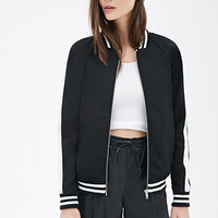 FOREVER 21 Faux Leather-Trimmed Varsity Jacket Black/Cream