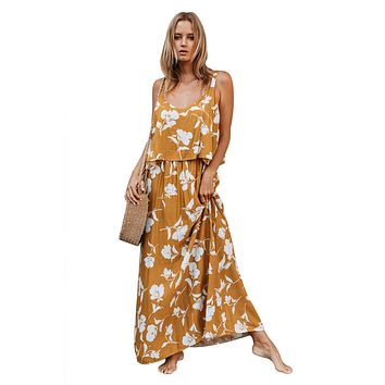 Chic Summer Boho Floral Maxi Dress in Mustard
