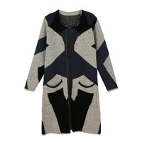 Blue Contrast Geometric Pattern Knitted Cardigan Coat