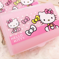 1X Cute Kawaii Hello Kitty Pill Medicine Cosmetic Makeup Storage Case Kit Jewelry Display Drugs Tablets Box Container