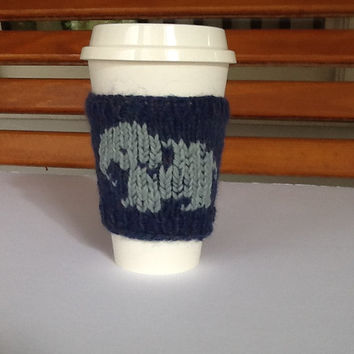 Coffee Cup cozy knitted in heather blue yarn with elephant motif,  sleeve for standard 16 oz. travel cup, washable, gifts under 15
