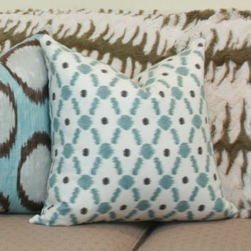 Blue ikat dot decorative pillow cover 18x18 blue pillow Blue white pillow Blue ikat pillow Blue grey pillow Blue gray pillow 18x18 pillow