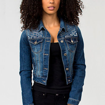 Women Jeans Junior Square Studded Denim Jacket