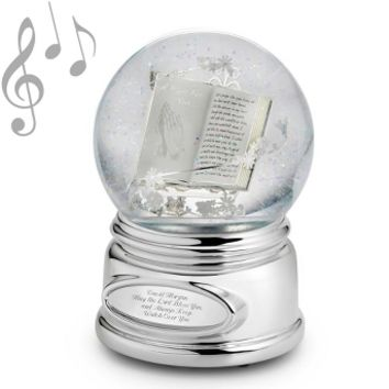 Personalized Praying Hands Musical Water Globe , Add Your Message