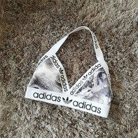 Reworked marble effect adidas bralette