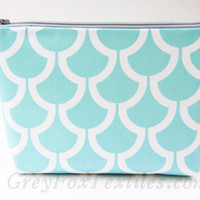 Aqua blue koi print cosmetic case, makeup bag, zipper pouch in designer fabric