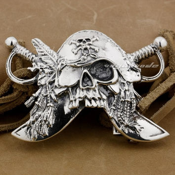 Huge & Heavy 925 Sterling Silver Pirate Mens Biker Rocker Belt Buckle 9C003