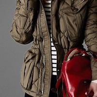 Down-Filled Field Jacket with Detachable Hood