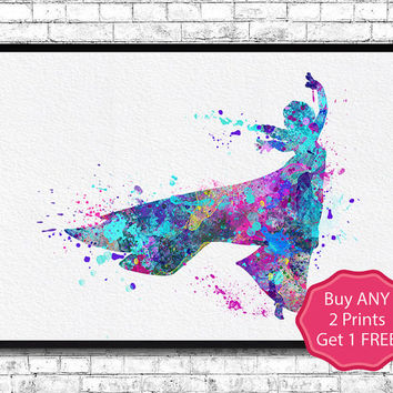 Frozen Elsa 4 Art Print Watercolor Print Disney Poster Elsa Illustration Frozen Poster Art Baby Shower Wedding Gift Nursery Art Wall decor