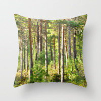 The colors of the forest Throw Pillow by Guido Montañés