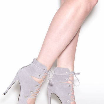 En Pointe Faux Suede Lace-Up Heels