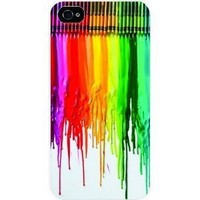 Dripping Color Crayon White Sides Hard Plastic Slim Snap on Case Cover for Apple Iphone 4 & 4s in Everest Star Packaging