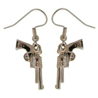 100% Nickel Free! Gun Earrings, Quality Made in USA! a Girlprops Exclusive!, Earrings in Silver Tone