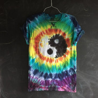 Rainbow Yin Yang Medallion tie dye - made to order